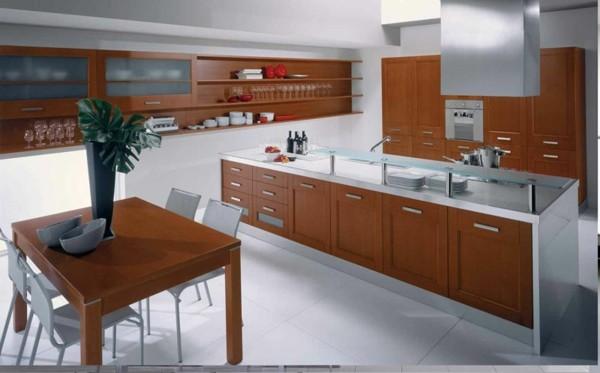 cocina bonita madera blanco acero