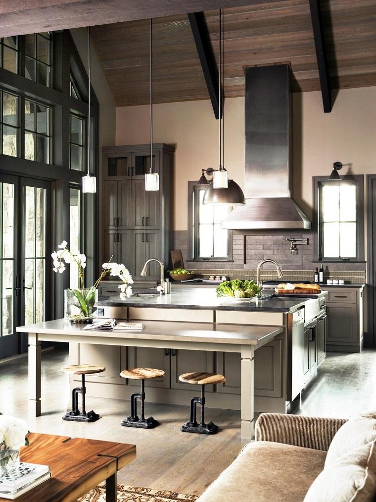 como diseñar una cocina contemporanea estilo industrial urbano ideas acero moderna