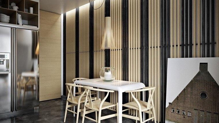 cocina decoracion sillas cuadro rayas