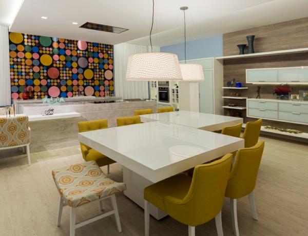 cocina diseño colores amarillo círculos