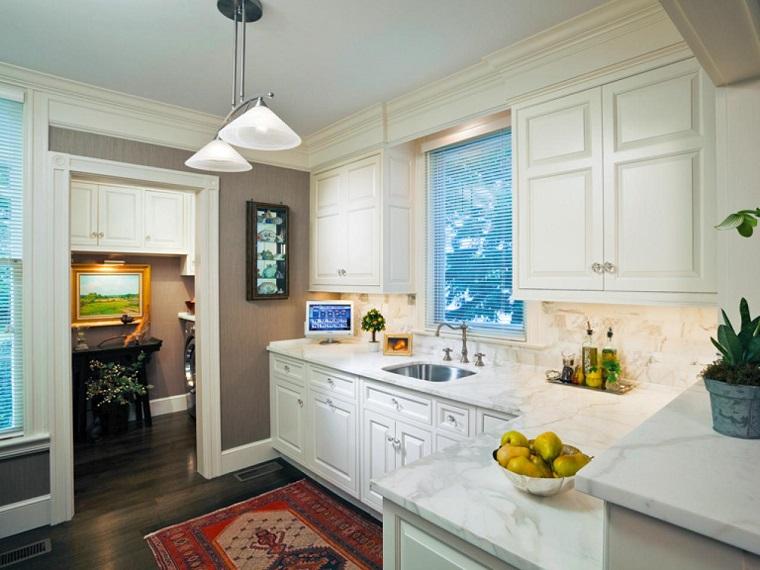 cocina diseno simple armarios pared encimera marmol ideas