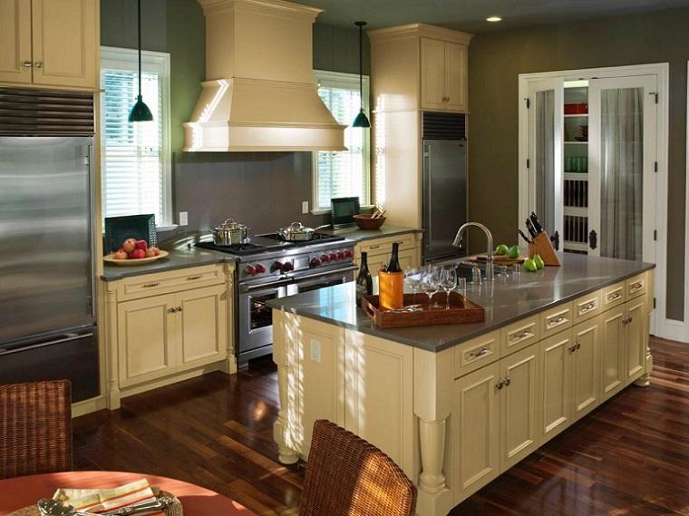 cocina electrodomesticos acero inoxidable isla blanca moderna