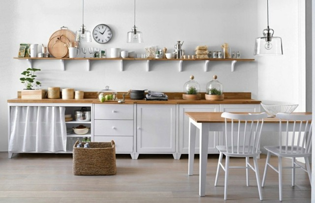 cocina estilo industrial moderno blanco idea madera