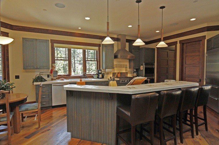 cocina bonita gris muebles rusticos