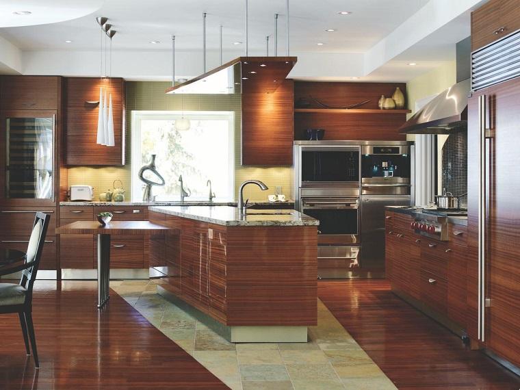 cocina isla pared armarios madera ideas moderna