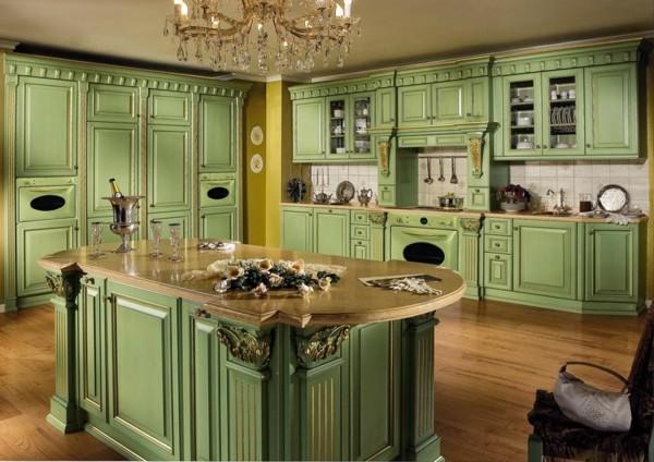 cocina lujosa retro verde jade