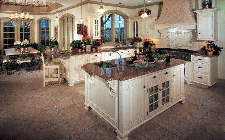cocina lujosa rustica blanca clasica