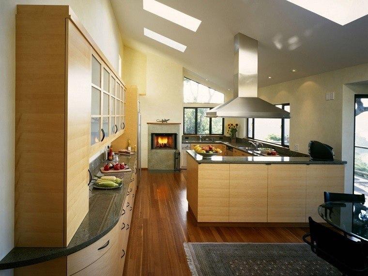 cocina madera campana acero moderna