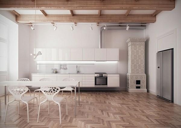 cocina minimalista iluminada blanca sillas