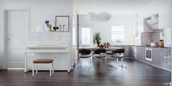 cocina moderna blanca comedor piano