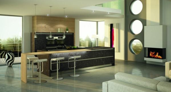 cocina moderna chimenea blanca