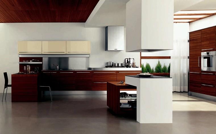cocina moderna decoracion madera plantas diseño