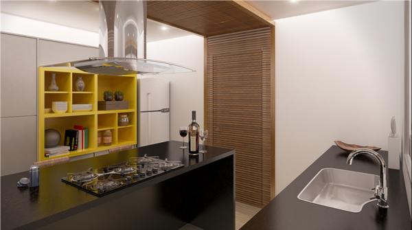 cocina moderna estantería amarilla isla