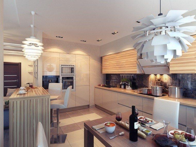 cocina moderna isla alta laminado