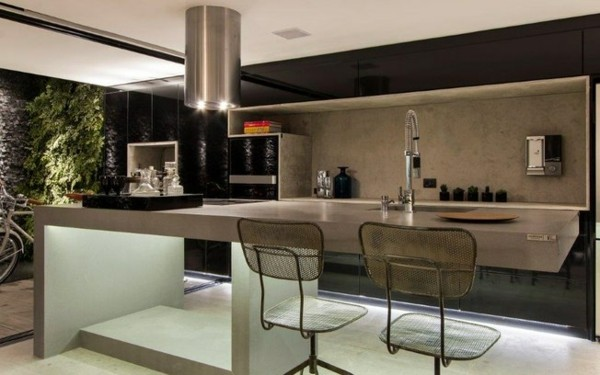 cocina moderna jardín vertical isla