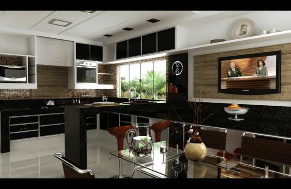 cocina moderna lujosa color negro