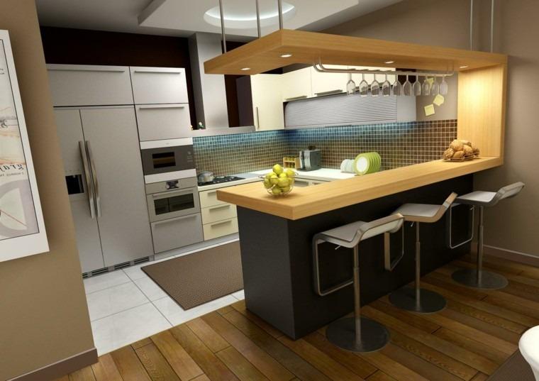 cocina moderna madera sillas luces