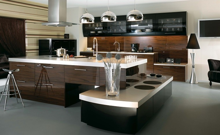 cocina moderna marrones tonos jarron