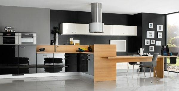 cocina moderna negra madera campana