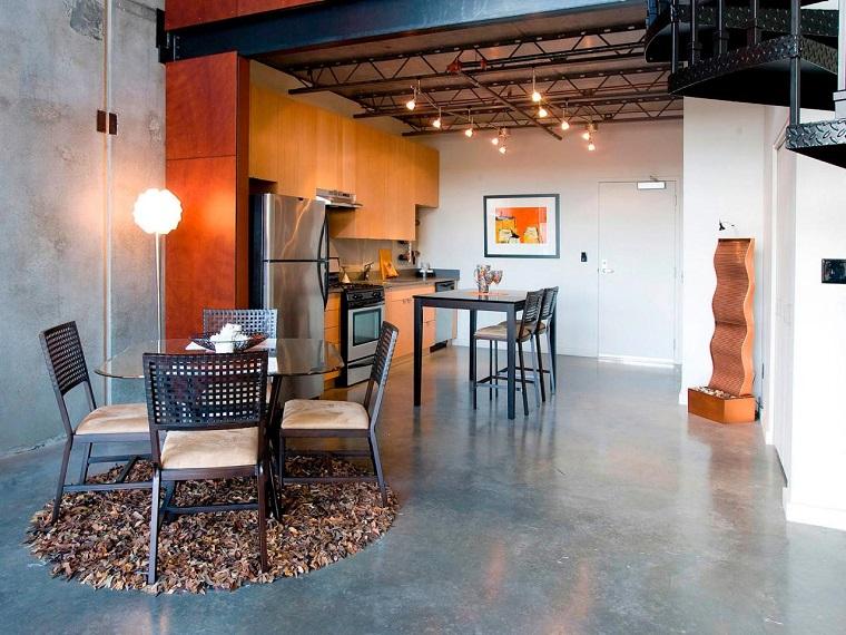cocina moderna pared gris muebles naranja amplia ideas