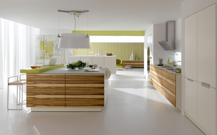 cocina moderna pared papel verde lima
