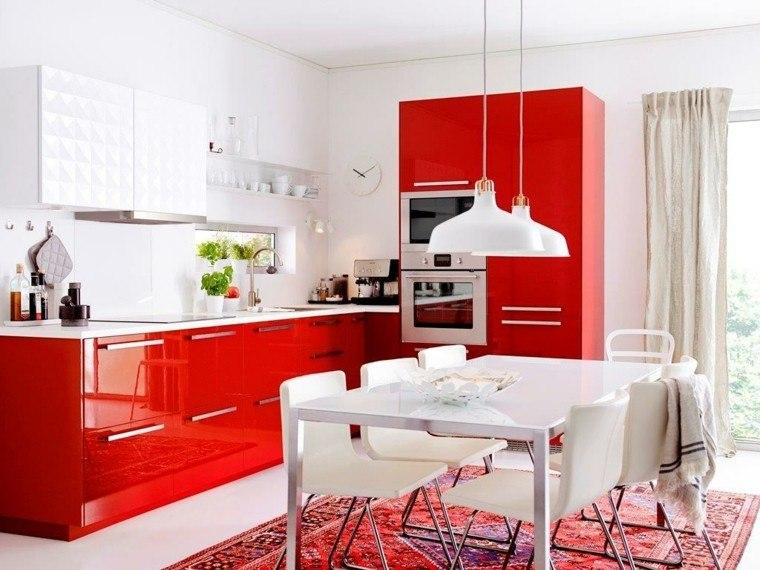 cocina moderna rojo plantas brillo