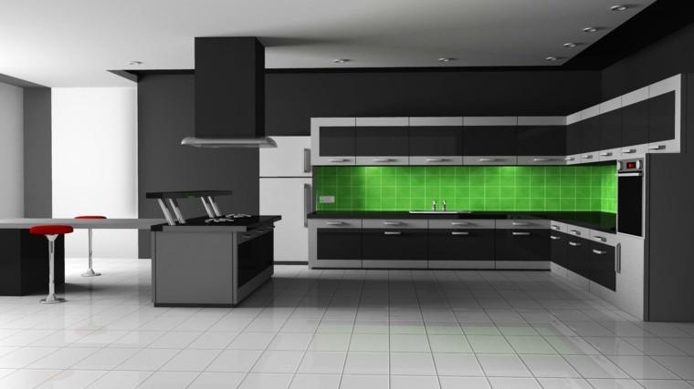 cocina moderna verde luces minimalista