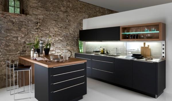 cocina negra pared piedra laminado