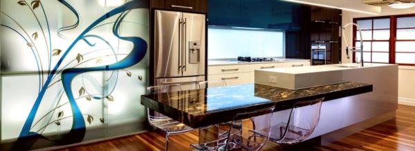 cocina original diseño pared colores