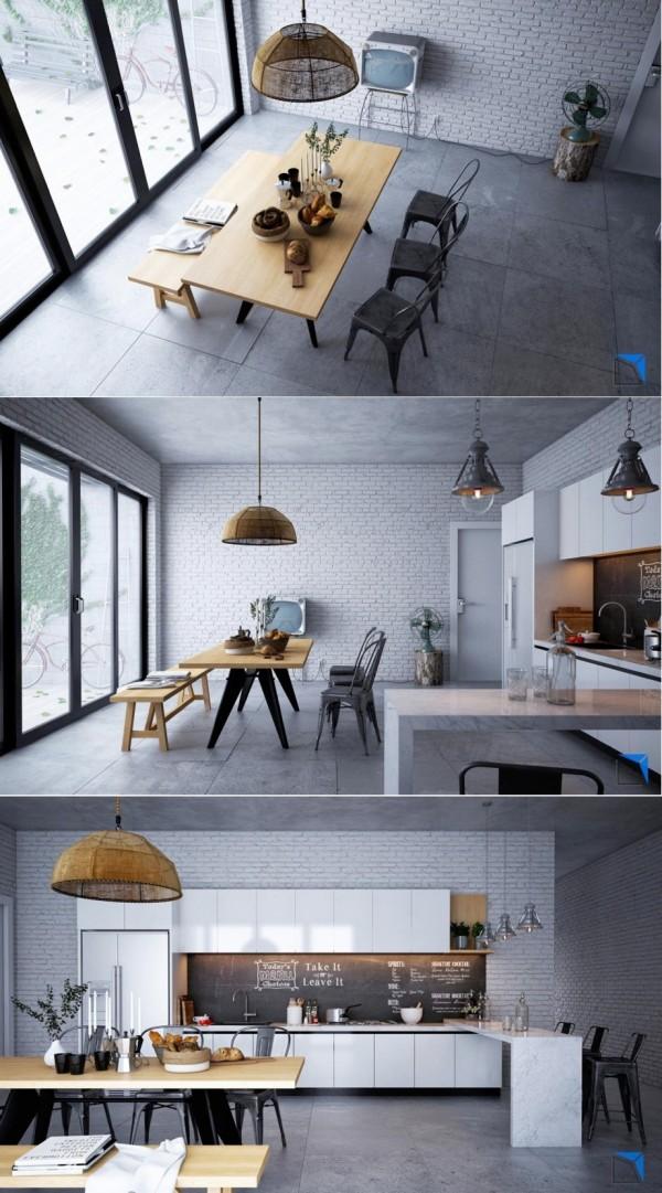 cocina pared blanca ladrillos moderna