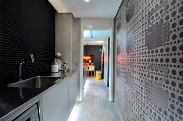 cocina pasillo pared lavadero acero