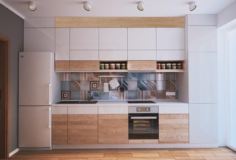 cocina pequena ideas madera gris claro diseno