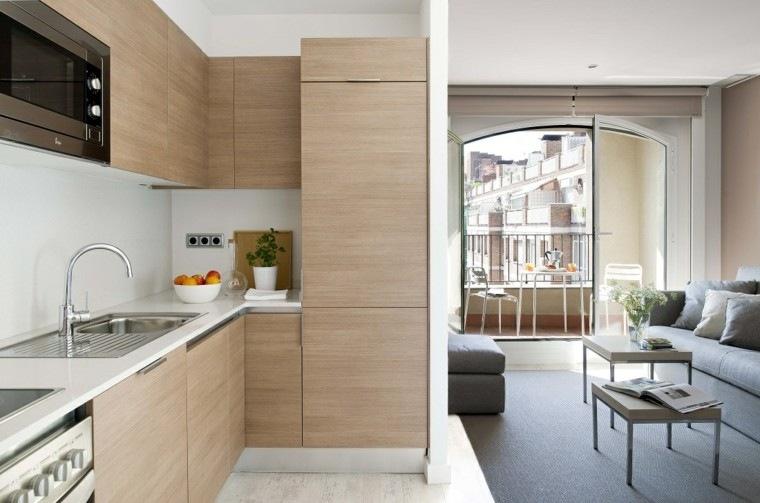 cocina pequena practica ideas armarios madera moderna
