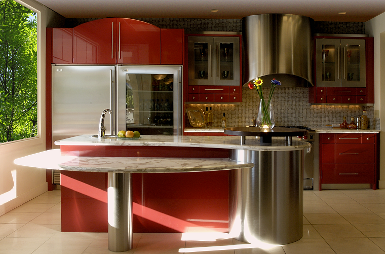cocina practica color rojo acero isla marmol ideas