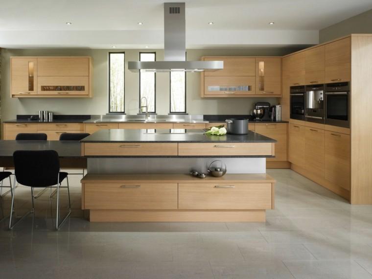 cocina practica isla armarios madera amplia moderna