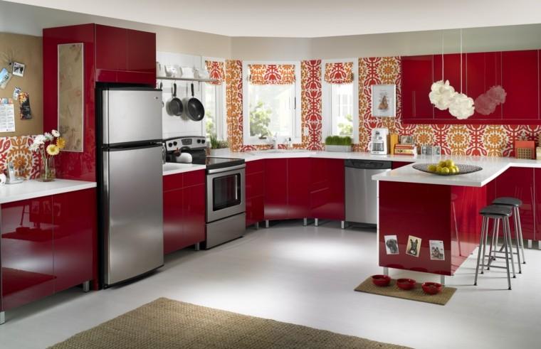 cocina roja papel pared figuras