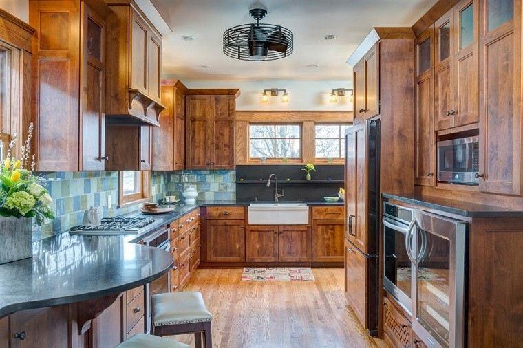 cocina rustica encimera redonda marmol