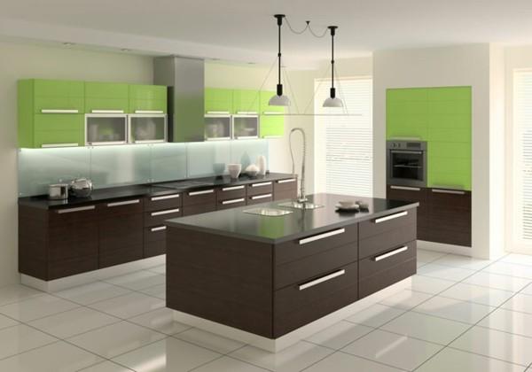 cocina verde claro laminado madera