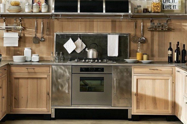 cocinas de diseño estilo vintage acero madera