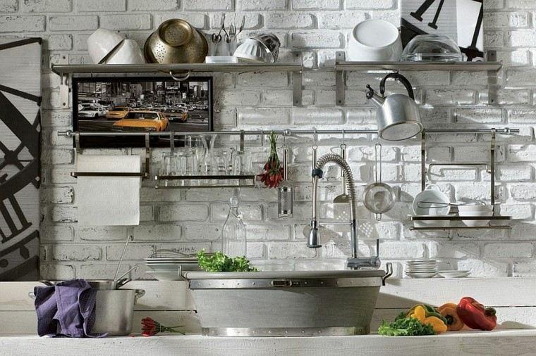 cocinas de diseño pared baldosas blancas idea moderna