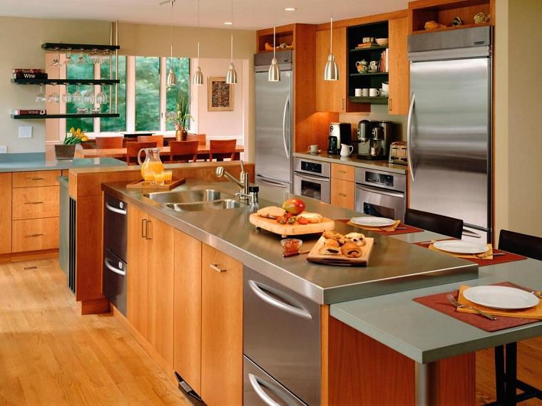 cocinas modernas encimeras acero inoxidable armarios maderas ideas