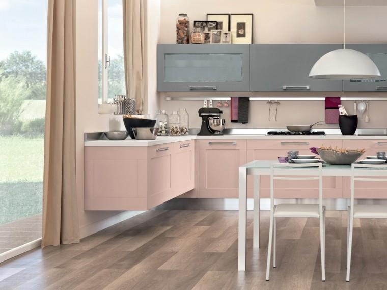 cocinas modernas rosa claro muebles flotando aire ideas