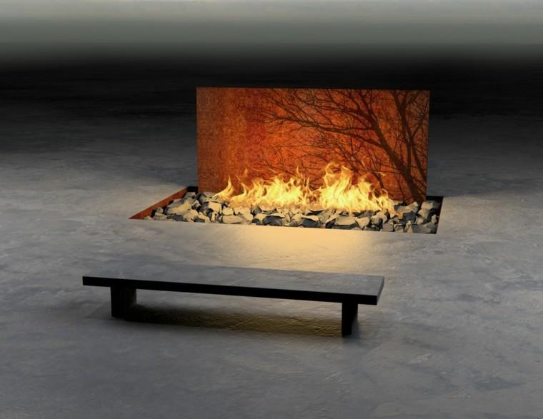 coleccion banco minimalista fuego idea moderna