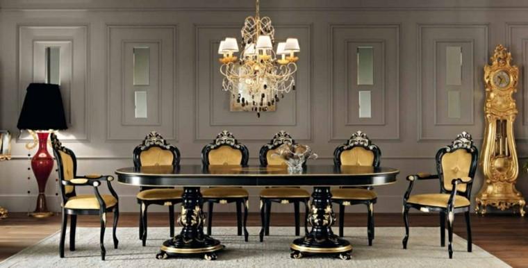 color negro mesa comedor clásica