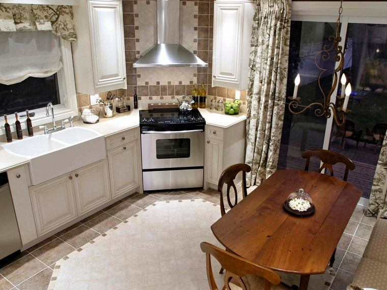 colores beige blanco cocina mesa sillas madera moderna