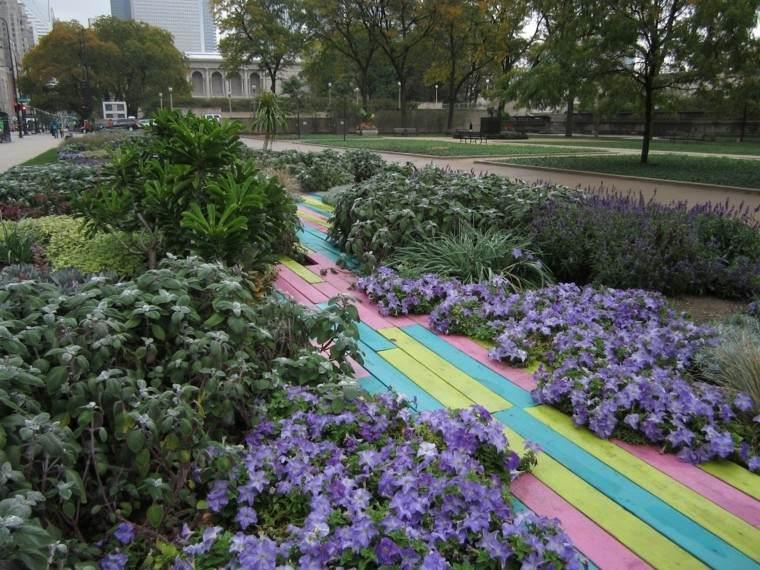 colores flores camino diseño madera