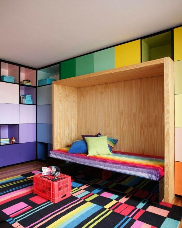 colores vibrantes habitacion juvenil ideas modernas armario