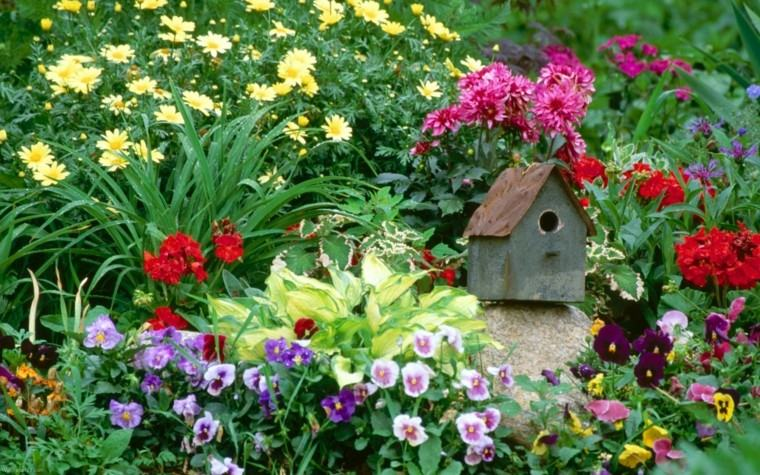 colores y diseño de jardines casa madera roca