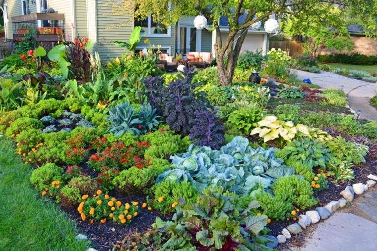 colores y diseño de jardines mantillo flores contraste