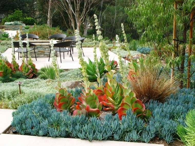 colores y diseño de jardines suculentas sillas verde
